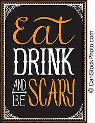 ser, b, asustadizo, bebida, halloween, comer