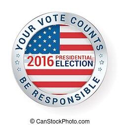 ser, badge., responsável, eleições, ilustração, seu, vetorial, voto, mensagem, conta, presidencial
