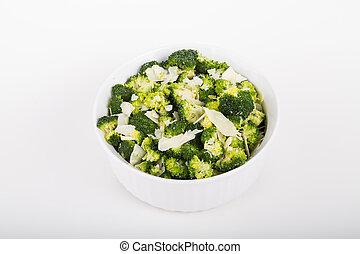 ser, biały, brokuł, tygielek, parmezański
