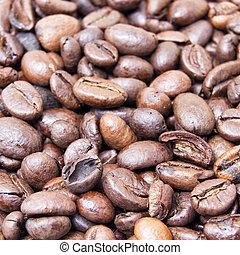 ser, café, usado, espaço, text., cima, textura, feijões, fundo, assado, fim, branca, ou