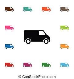ser, camião, usado, concept., isolado, elemento, carruagem, vetorial, desenho, lata, icon., camião, furgão