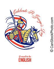 ser, cartel, s., orgulloso, george, retro, inglés, día,...