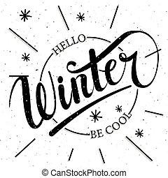 ser, cepillo, letras, azul, text., invierno, hola, plano de ...