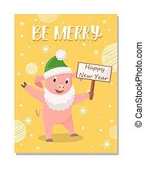 ser, cerdo, verde, saludos, alegre, sombrero, caricatura