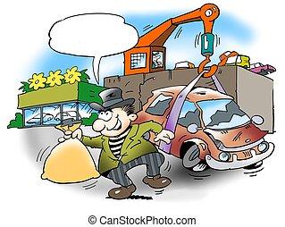 ser, coche, descartar, dinero