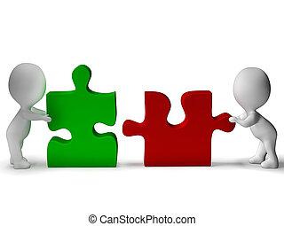 ser, colaboración, rompecabezas, unido, pedazos, trabajo en...