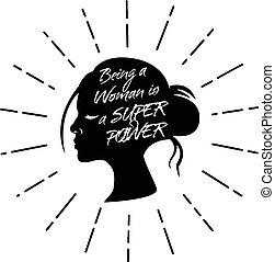 ser, concept., power., súper, lema, empowerment, mujer