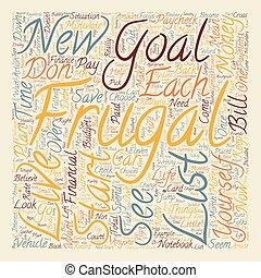 ser, concepto, motivado, frugal, texto, cómo, wordcloud, plano de fondo, ponerse