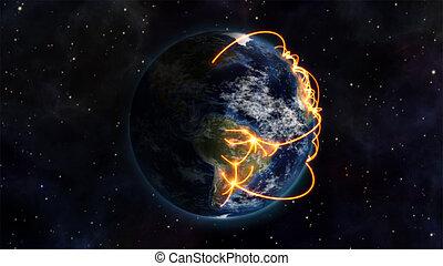 ser, conectado, mundo, illustrationof