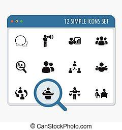 ser, conjunto, 12, móvil, icons., lata, estructura, editable...