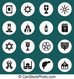 ser, conjunto, cristiano, capellán, icons., editable, 16, libro, utilizado, incluye, símbolos, lata, dyne, infographic, ui, tela, móvil, tal, more., capilla, design.