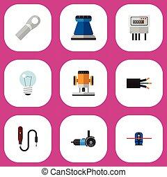 ser, conjunto, eléctrico, móvil, icons., lata, editable, esmeril, utilizado, incluye, símbolos, papel, infographic, ui, tela, bombilla, 9, tal, more., conexión, design.