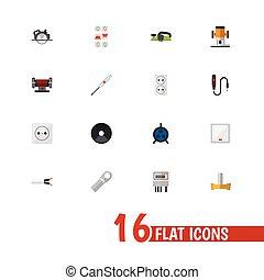 ser, conjunto, móvil, icons., instrumentos, 16, editable, utilizado, jointer, símbolos, lata, corte, infographic, ui, tela, interruptor, tal, more., incluye, design.