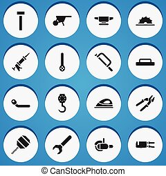 ser, conjunto, tubo, móvil, icons., lata, 16, editable, ...