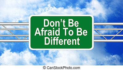 ser, diferente, amedrontado, faça