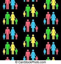 ser, diferente, padrão, seamless, qualquer, escalado, pessoa, repetido, color.(can, silhuetas, size)