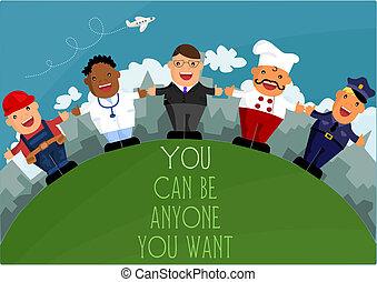 ser, diferente, profissões, -, anyone, lata, querer, tu
