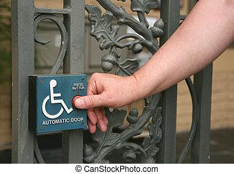 ser, discapacitada / discapacitado, empujado, puerta, ...