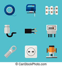 ser, escarapela, conjunto, eléctrico, móvil, icons., lata, editable, utilizado, incluye, símbolos, corte, infographic, ui, tela, 9, tal, more., alambre, design.