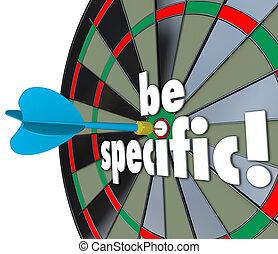 ser, escolha objectivos, explícito, dardo, específico, tábua, palavras, detalhes, directio