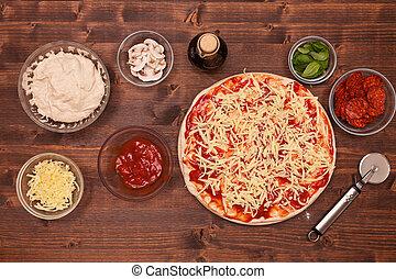 ser, fazy, -, kładzenie, kraciasty, zrobienie, pizza