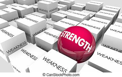 ser, força, fraqueza, ilustração, confiante, vs, palavras, forte, 3d