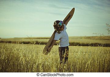 ser, hecho, piloto, marrón, niño, anteojos, lleva, libertad, aviador, divertido, tape tipo, avión, cartón, juego, alas