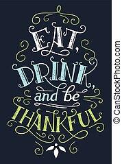 ser, hogar, bebida, señal, comer, decoración, agradecido