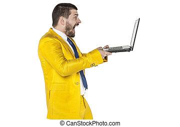 ser, internet, conteúdo, lata, homem negócios, encontrado, surpreendido