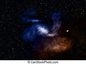 ser, interpretación, brillado, nebula., 3d