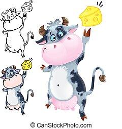 ser, krowa, szczęśliwy