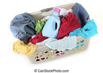 ser, lavanderia, lavado, esperando, sujo, cesta, roupas