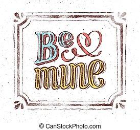 ser, mine., vindima, cartaz, com, mão, lettering, frase