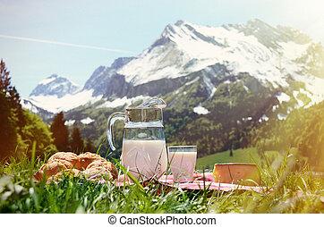 ser, mleczny, piknik, łąka, swit, obsłużony, bread, alpejski