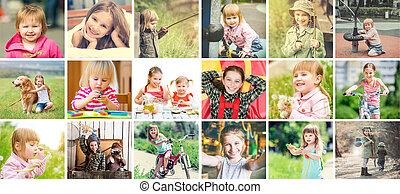 ser, niñas, activo, aire libre, pequeño, collage, encantador