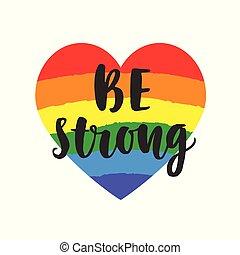 ser, orgulho, homossexual, cartaz, slogan., inspirational, forte