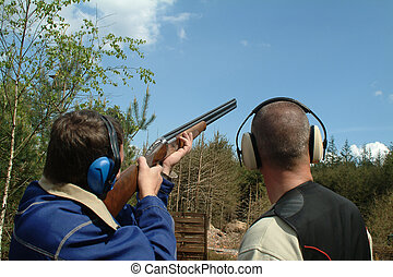 ser, palomas, instructed, arcilla, disparando, hombre