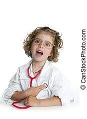 ser, pequeno, doutor, cute, fingir, menina