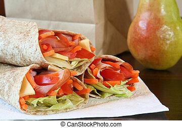 ser, pszenica, zdrowy, warzywa, lunch, zawinięty, szynka, całość, tortilla.