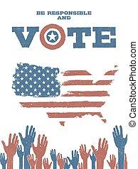 ser, responsable, y, vote!, en, estados unidos de américa, map., patriótico, cartel, to apoyar, votación, en, elections.
