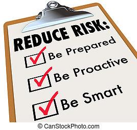 ser, riesgo, lista de verificación, reducir, preparado, portapapeles, elegante, proactive
