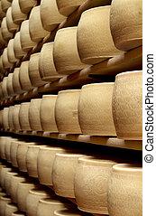 ser, robiony, świeżo, parmezański