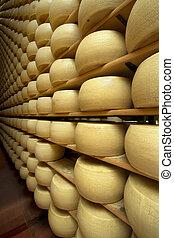 ser, robiony, dojrzewanie, piwnica, świeżo, koła