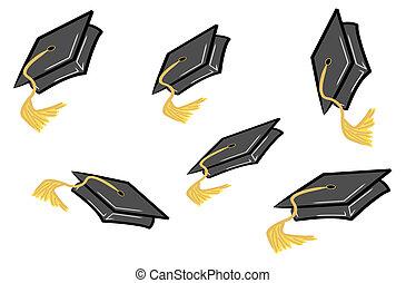 ser, sacudido, casquillos de la graduación, aire