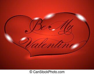 ser, -, saludo, tarjeta de valentine, mi, rojo