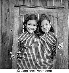ser, siamés, vestido, marco, niñas, arriba, imaginación, gemelo, fingir