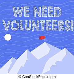 ser, texto, él, uno, peak., necesidad, volunteers., foto,...