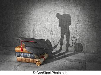 ser, trabajando, forma, concept., slave., diploma, ilustración, molde, libro, aprendizaje, sombra, educación, 3d