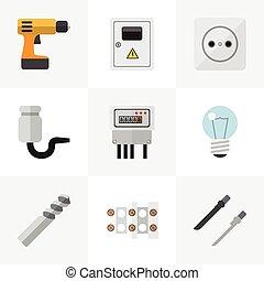 ser, ui, conjunto, fretsaw, móvil, icons., instrumentos, editable, taladro, incluye, símbolos, lata, destornillador, infographic, utilizado, tela, 9, tal, more., design.
