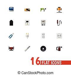 ser, ui, conjunto, tenedor, móvil, icons., lata, 16, editable, taladro, incluye, símbolos, infographic, eléctrico, tela, utilizado, tal, eléctrico, more., design.